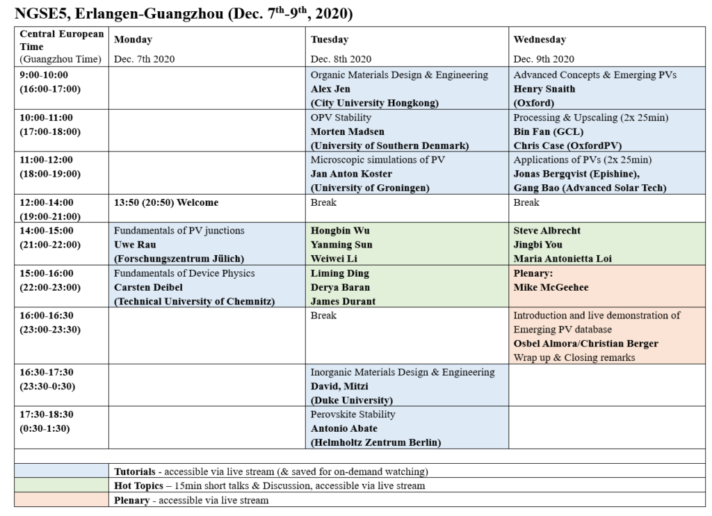 NGSE5 Schedule