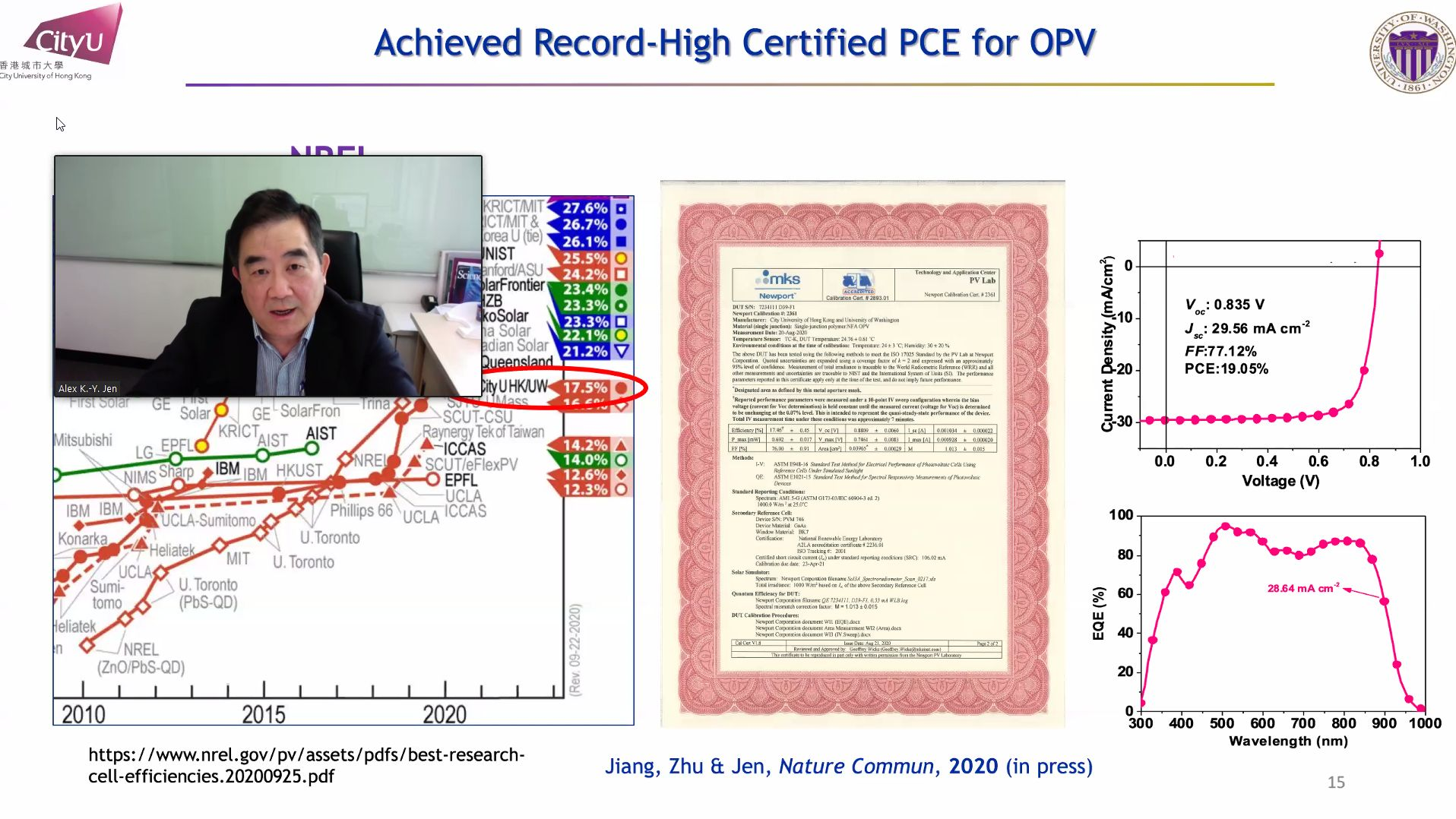 Prof. Jen showing OPV device with 19.05% Efficiency